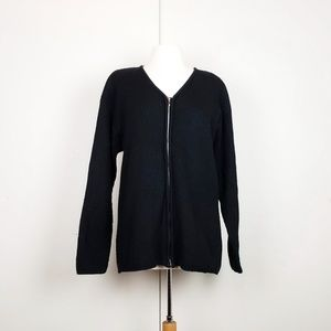 Vintage 90s Black Ribbed Knit Cardigan Sweater